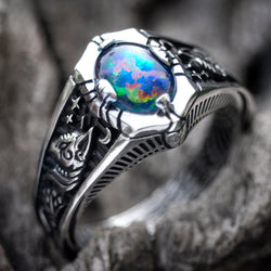 "Boulder Fire Opal Ring ""Egypt Tale"" - blacktreelab"
