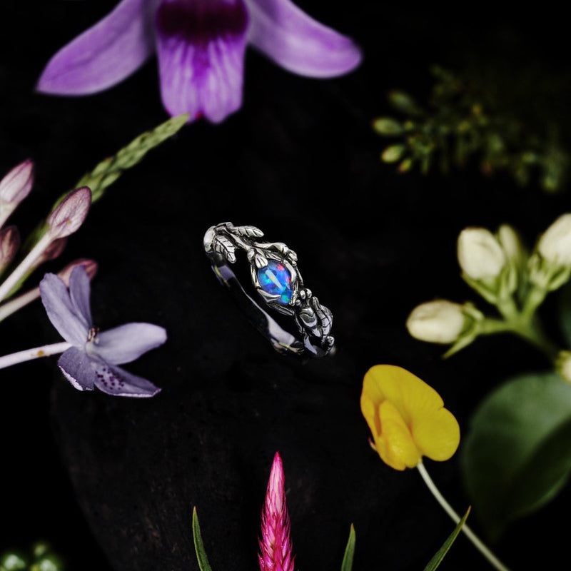 Boulder Fire Opal Ring with Flowers