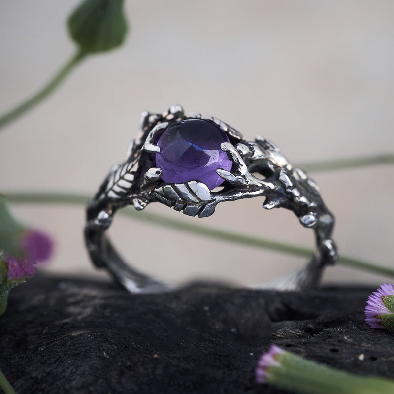 Amethyst engagement floral ring