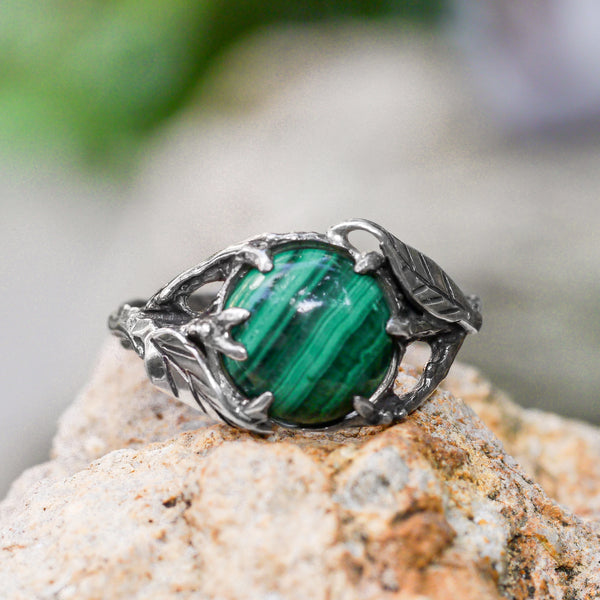 "Sterling Silver Malachite Ring ""Esperanza"" - blacktreelab"