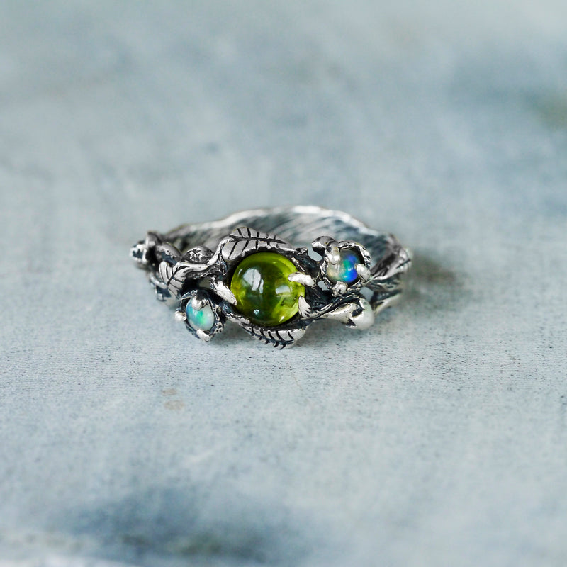 """Angie"" - Floral Peridot and Opals ring"
