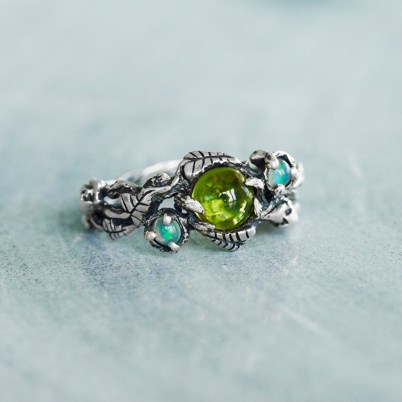 Peridot Ring with Opals
