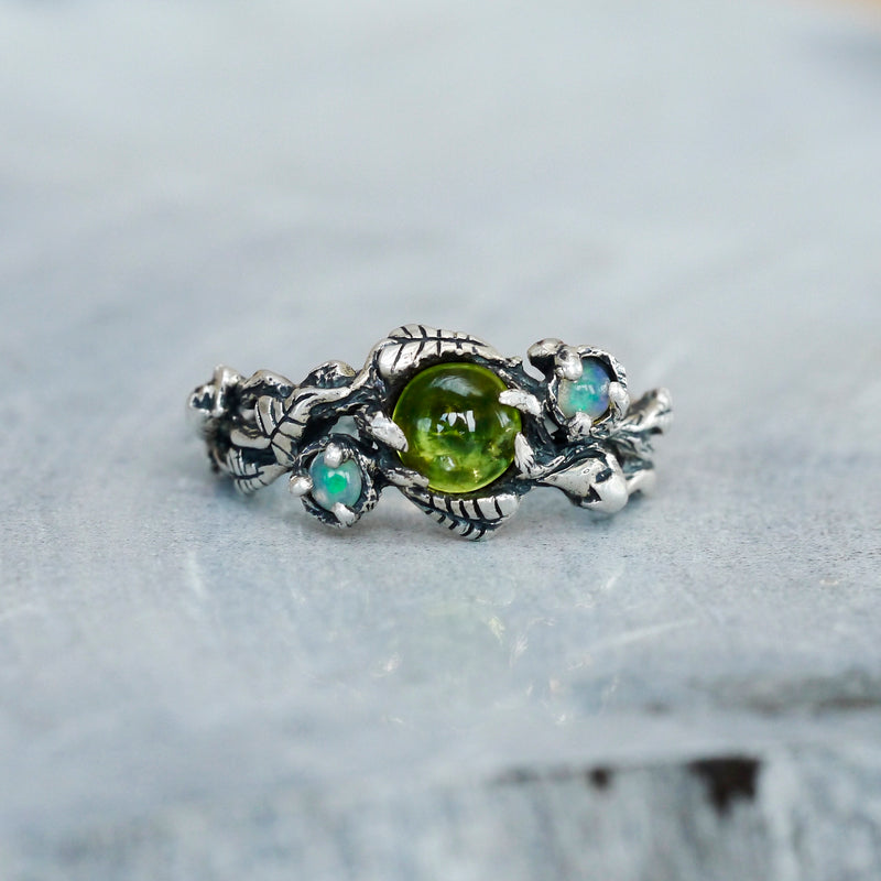 Opal and Peridot Engagement Silver Ring