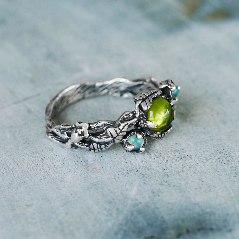 Engagement Floral ring with Peridot and Opals