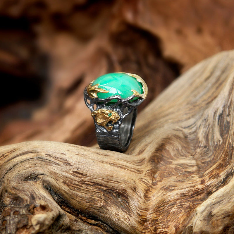 "Chrysoprase ring with 2 Emeralds and Gilding ""Myanma"""