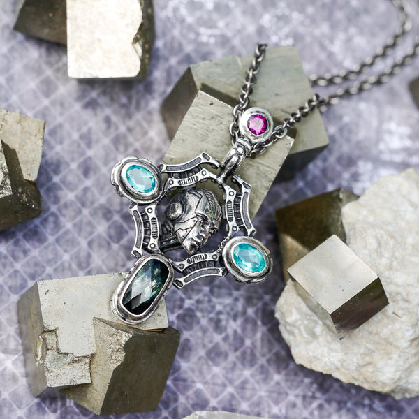"Industrial Sterling Silver Robot Pendant ""Eternal"" with Tourmaline, Garnet and 2 Apatite - blacktreelab"