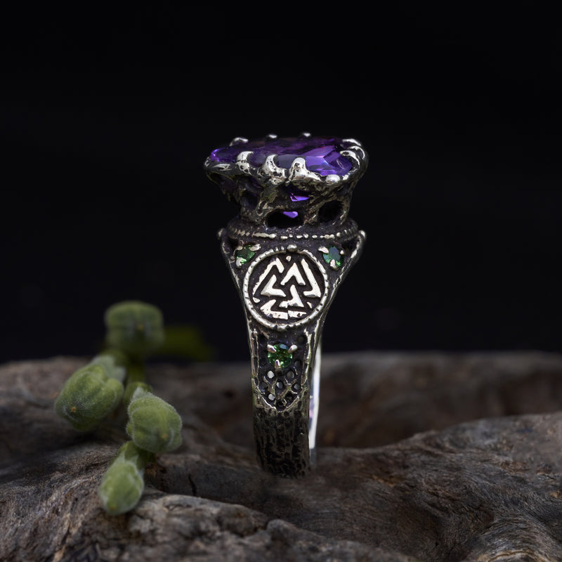 "Mens Ring with Amethyst ""Portal"""