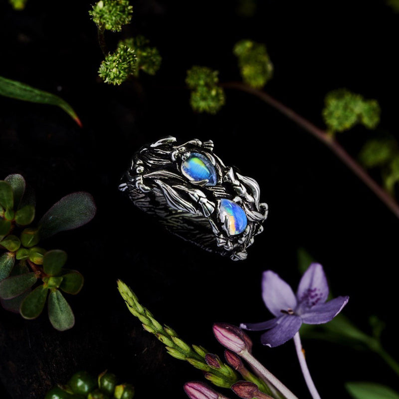 "Two Gemstone Ring with Moonstones ""Infinity"""