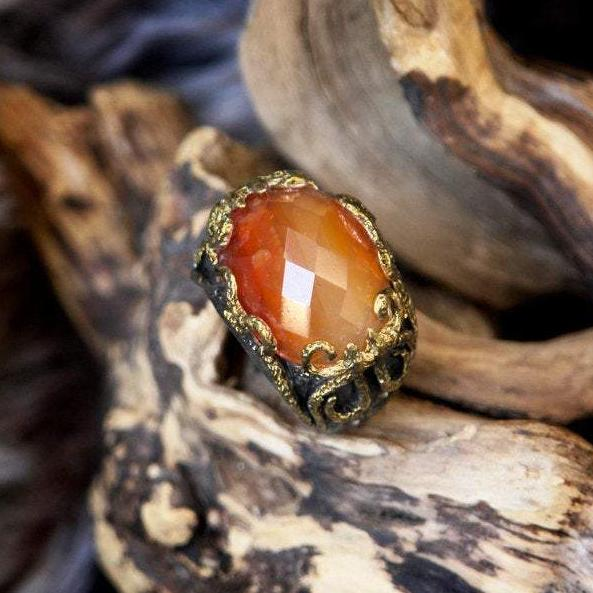 Carnelian ring in Sterling Silver