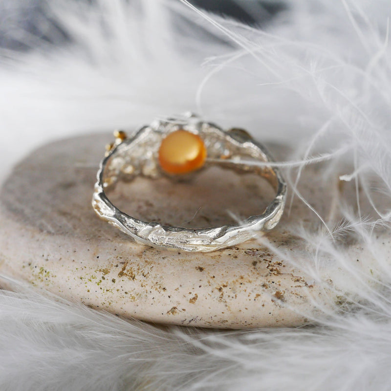 "Peach Moonstone Engagement Ring ""Sue"" - blacktreelab"