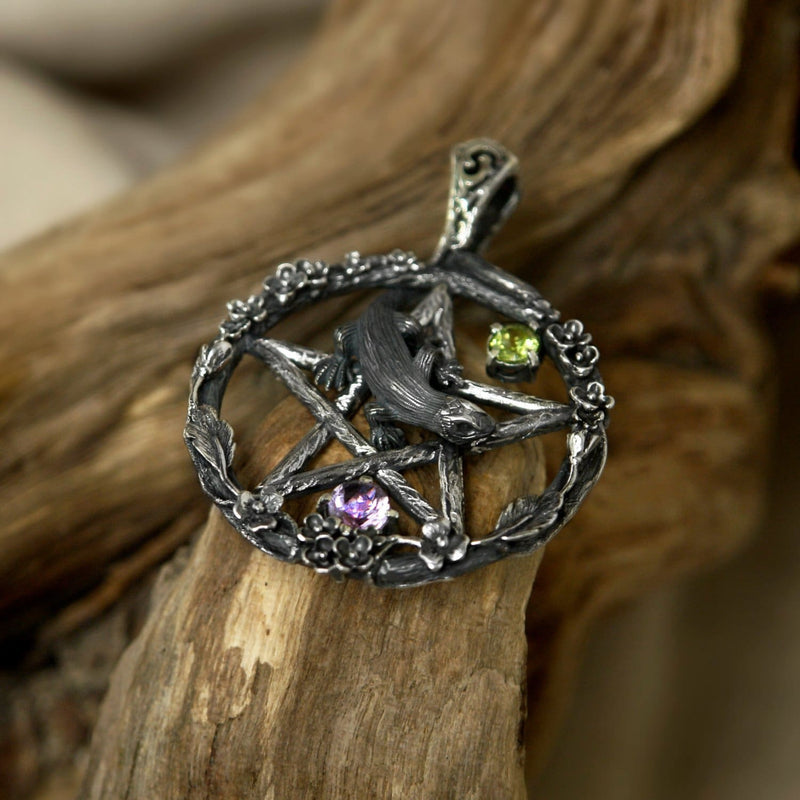 "Pentagram Pendant ""Pente Magna"" with Amethyst and Chrysolite - blacktreelab"