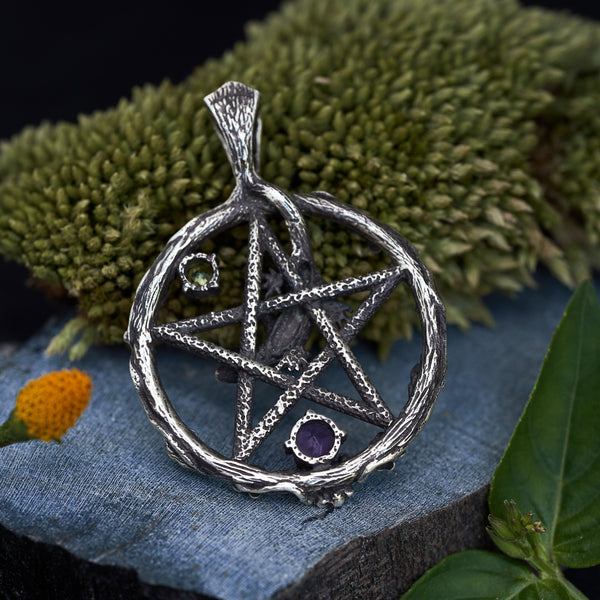 Pentagram silver pendant backside