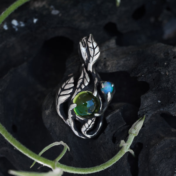 "opal and peridot pendant ""Angie"""
