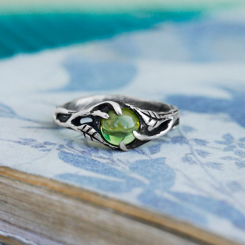 Peridot Engagement Ring BlackTreeLab