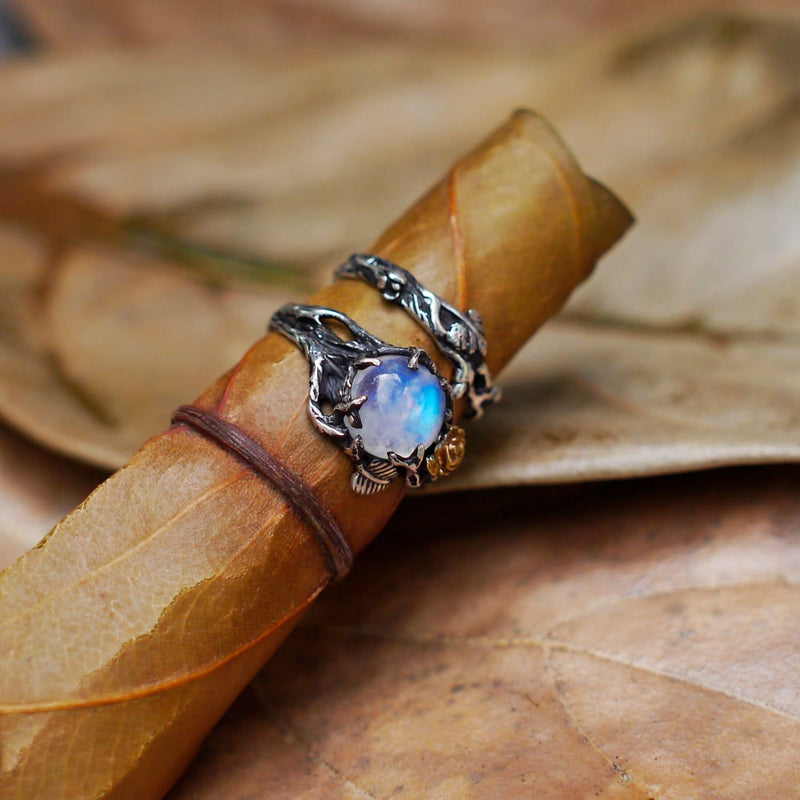 "Rainbow Moonstone Engagement Ring Set of 2 ""Cleo+Mio"" - blacktreelab"