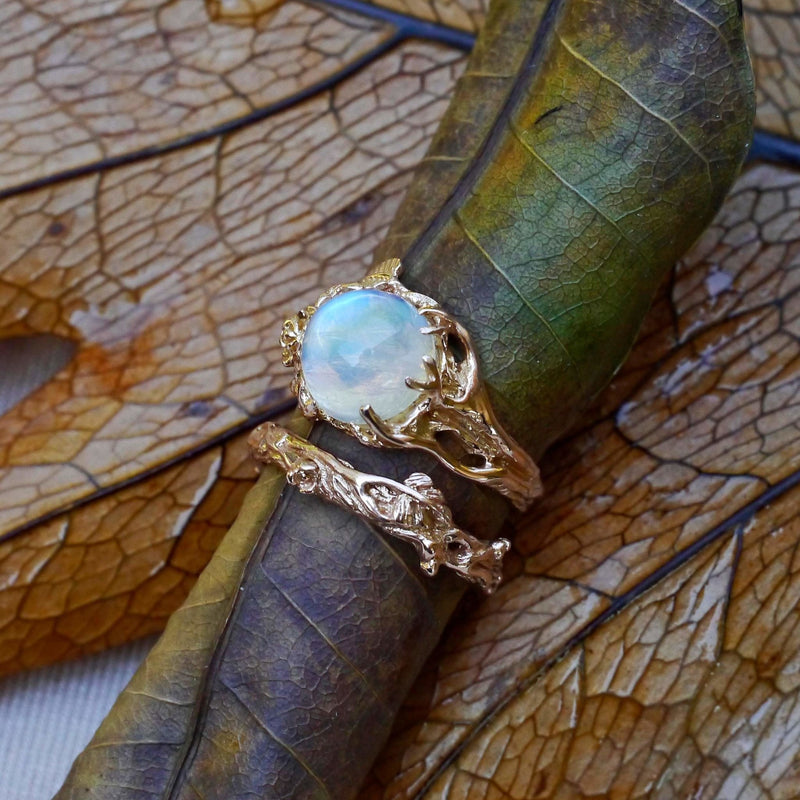 "Rose Gold Rainbow Moonstone Engagement Ring Set of 2 ""Cleo+Mio"" - blacktreelab"