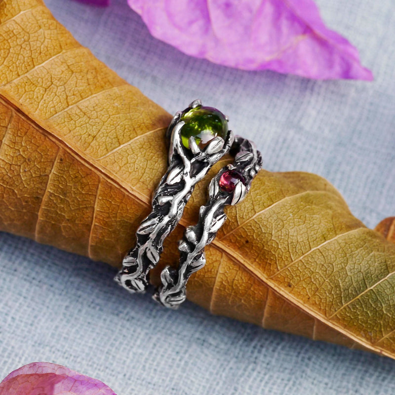 Set of 2 Vita + band Engagement Ring Set with Tourmaline and Chrysolite - blacktreelab