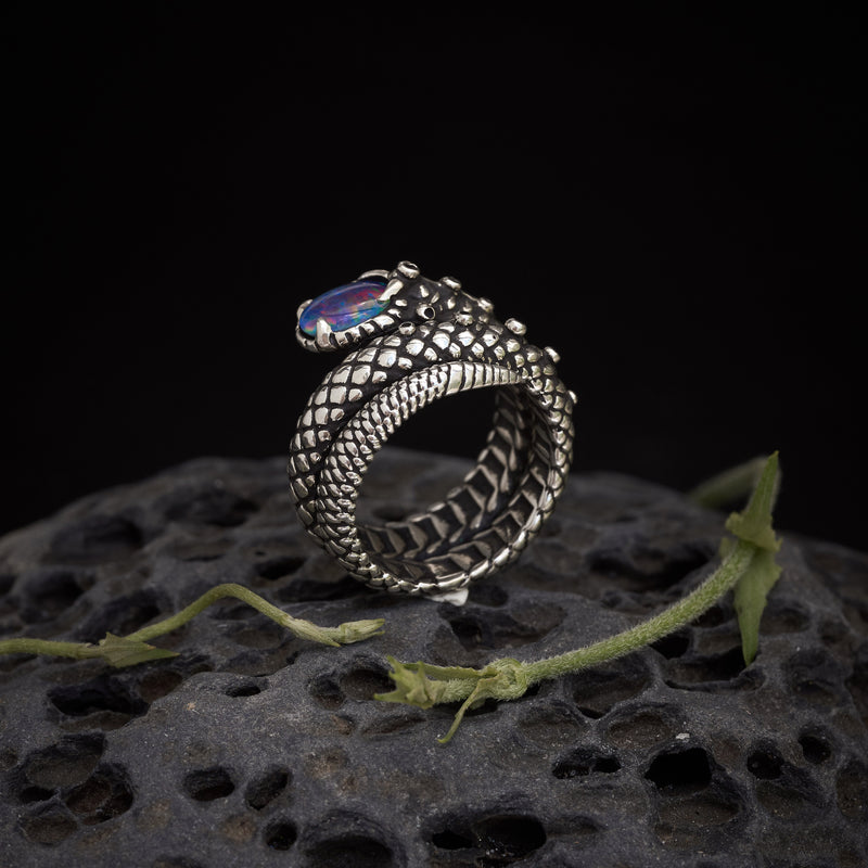 "Snake Ring ""Cosmosnake"" with Boulder Fire Opal"