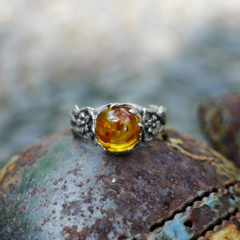 "Sterling Silver Amber Ring ""May"" - blacktreelab"