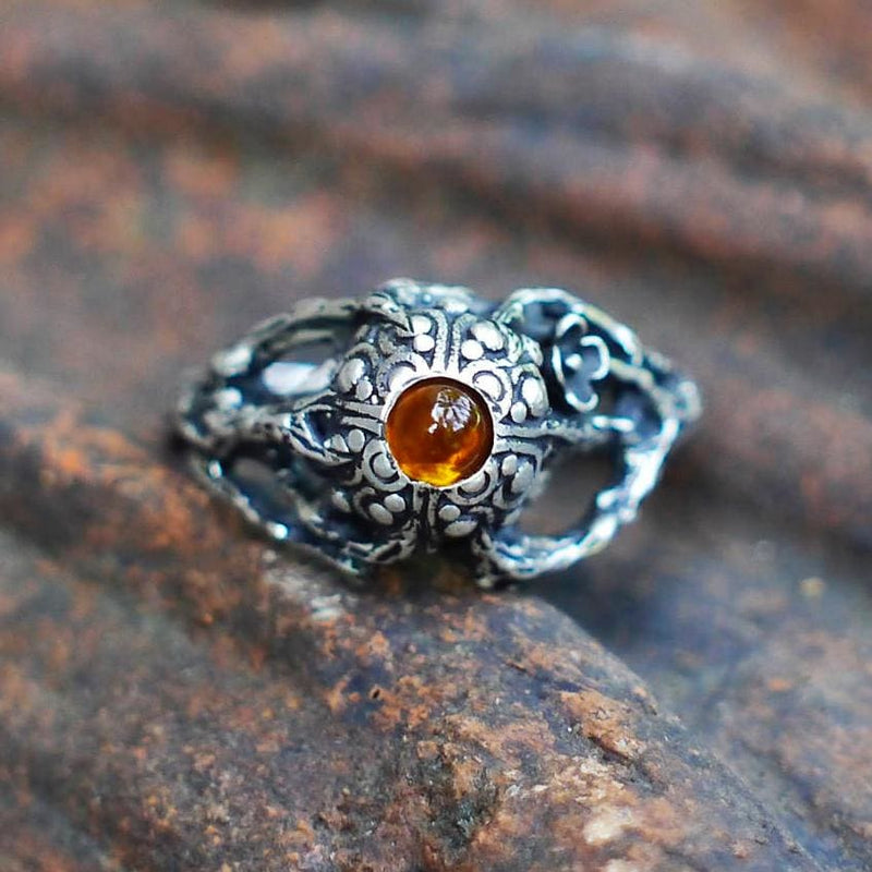 "Sterling Silver Amber Ring ""Sage"" - blacktreelab"