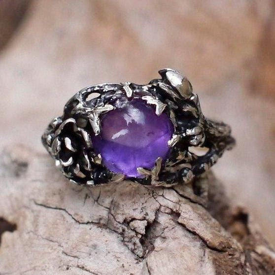 "Sterling Silver Amethyst Ring ""Fay"" - blacktreelab"