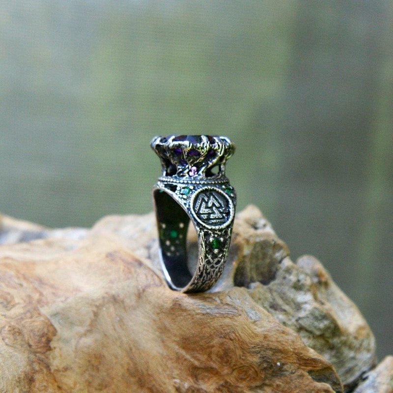 "Sterling Silver Amethyst Ring with 6 Emeralds ""Portal"" - blacktreelab"