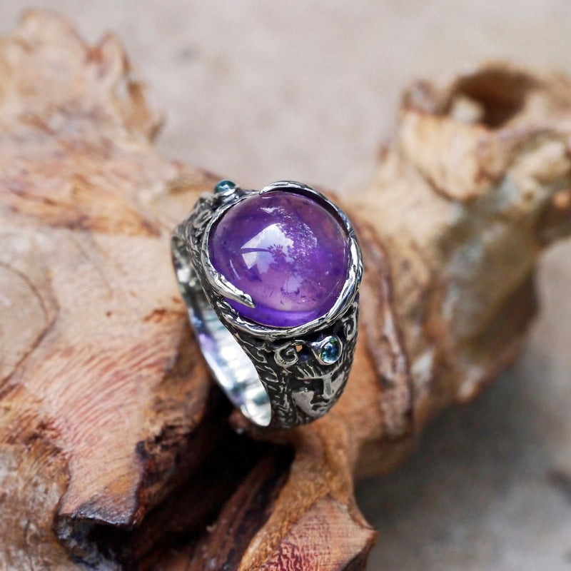 "Sterling Silver Amethyst Ring with Aquamarines ""Aurora"" - blacktreelab"