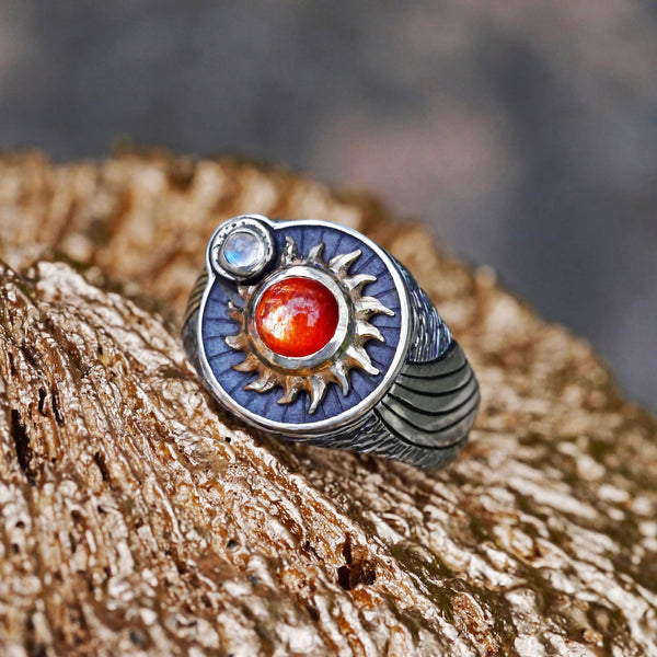 Sterling Silver and 14K Gold «Stargaze» ring with sunstone, moonstone and diamonds - blacktreelab
