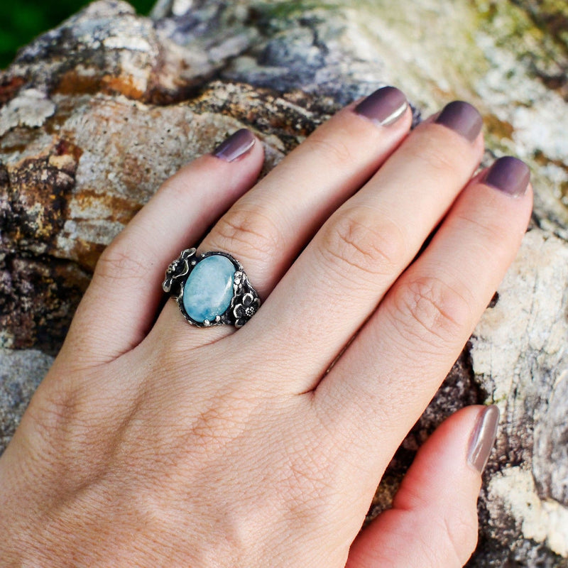 "Sterling Silver Aquamarine Ring ""Mirra"" - blacktreelab"