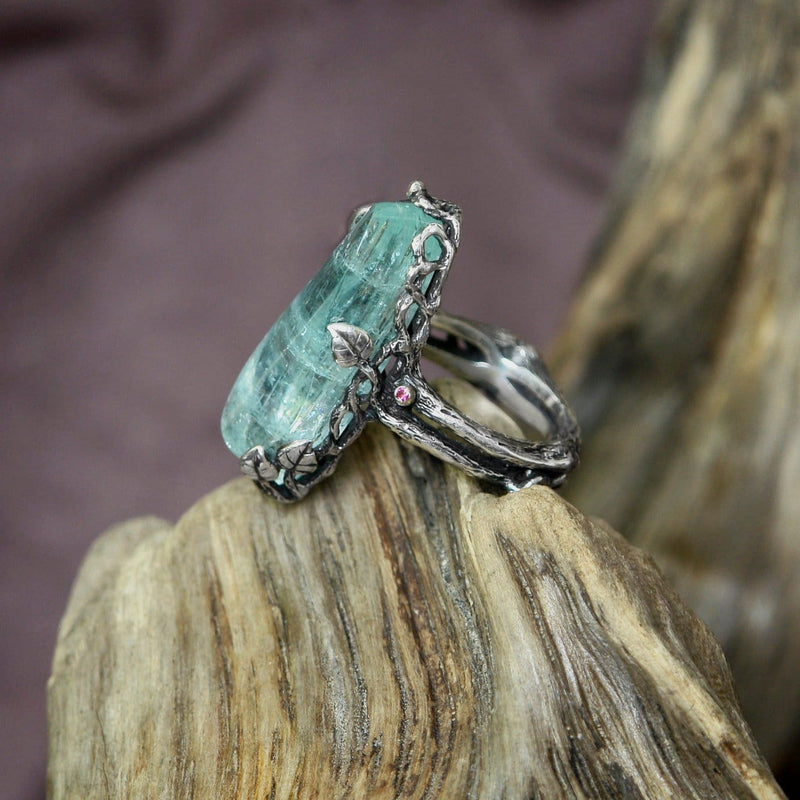 "Silver Aquamarine ring ""Winter Berry"" - blacktreelab"