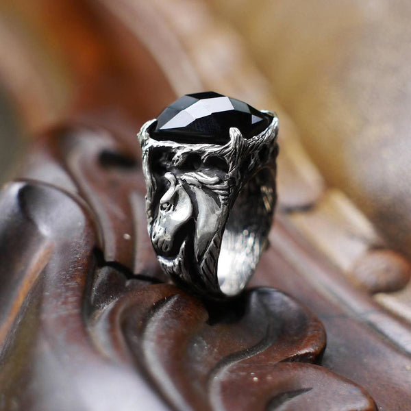"Sterling Silver Black Onyx Men's Ring ""Black Horse"" - blacktreelab"