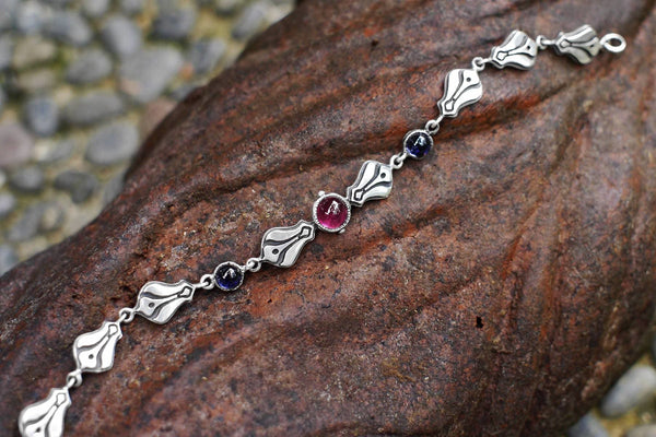 "Sterling Silver Bracelet with Tourmaline ""Ellora"" - blacktreelab"