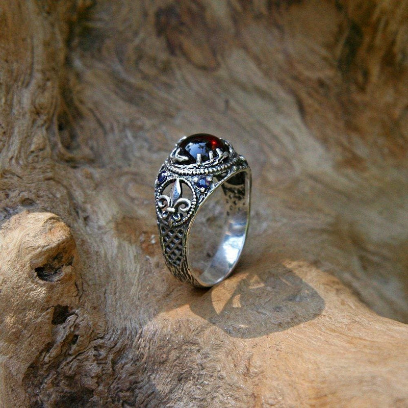 "Sterling Silver Garnet Engagement Ring with Blue Sapphire ""Merida"" - blacktreelab"