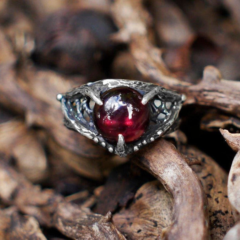 "Sterling Silver Garnet Ring ""Agnia"" - blacktreelab"