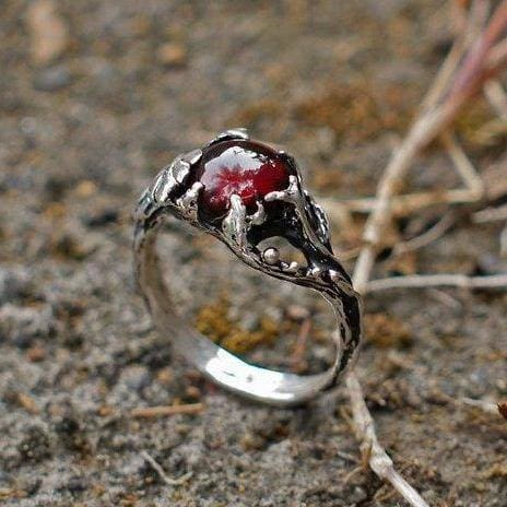 "Sterling Silver Garnet Ring ""Theia"" - blacktreelab"