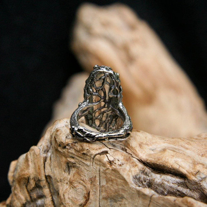 "Sterling Silver Golden Rutilated Quartz Ring ""Sunbeam"" with 5 yellow sapphires - blacktreelab"