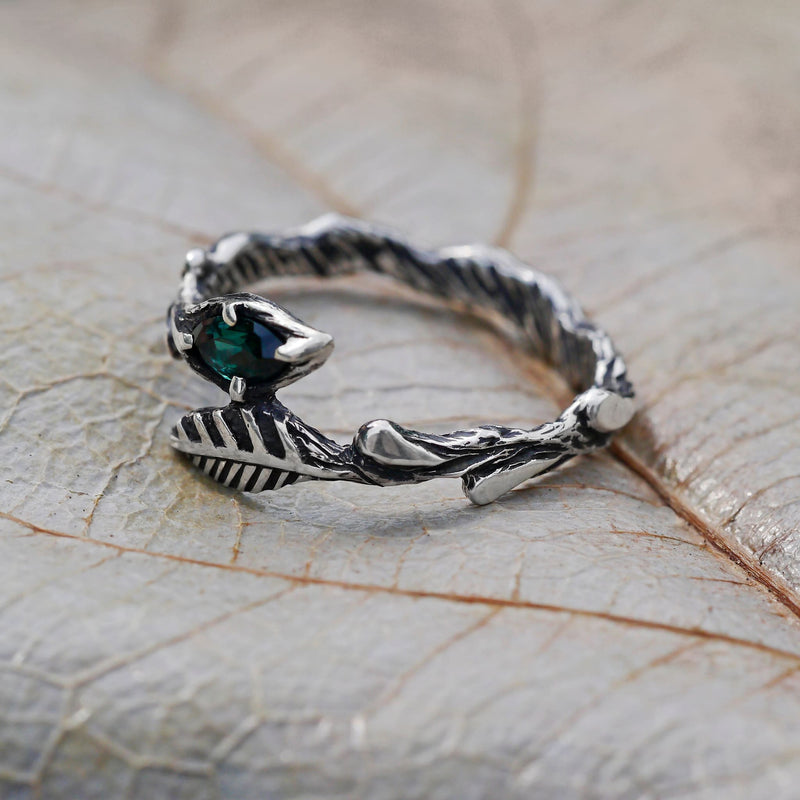 "Sterling Silver Green-Blue Tourmaline Ring ""Rene"" - blacktreelab"
