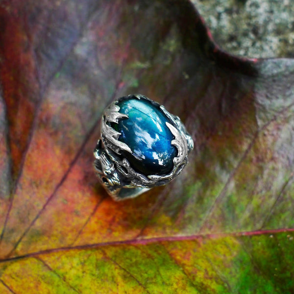 "Sterling Silver Labradorite Ring ""Amazonia"" with 2 Ruby - blacktreelab"