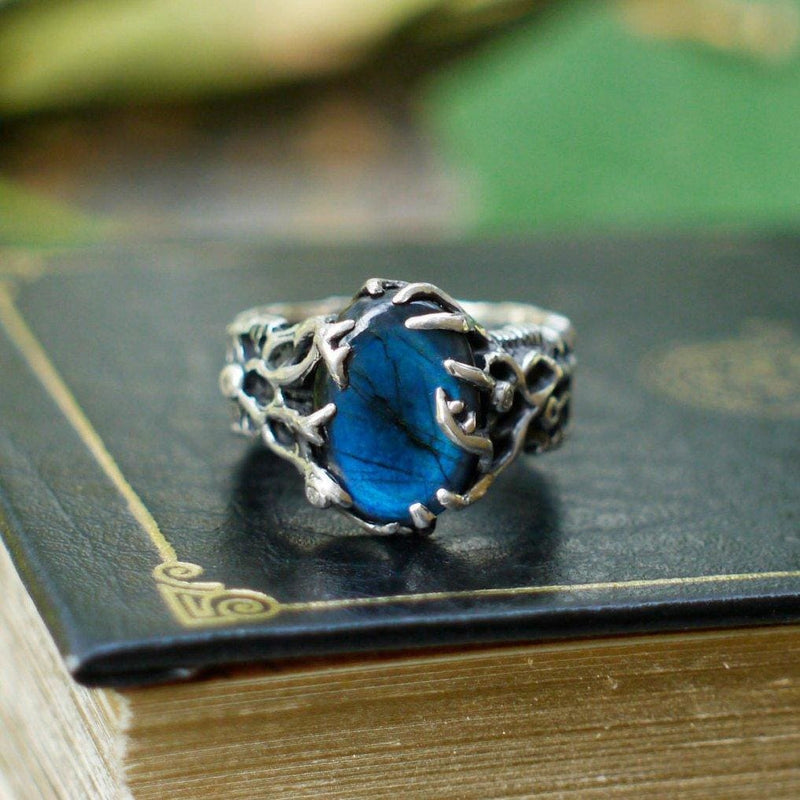 "Sterling Silver Labradorite ring ""Rukmini"" with 4 diamonds - blacktreelab"