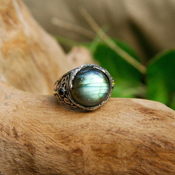 "Sterling Silver Labradorite Ring with Aquamarines ""Aurora"" - blacktreelab"