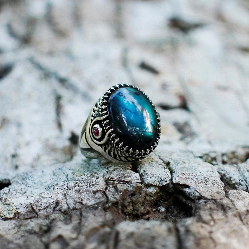 "Sterling Silver Labradorite Ring with Garnet ""Goddess Isis"" - blacktreelab"