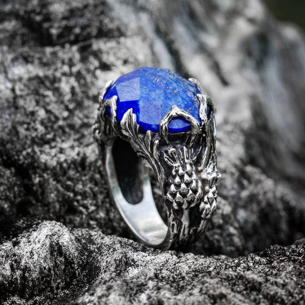 "Sterling Silver Lapis Lazuli Ring ""Thistle"" - blacktreelab"