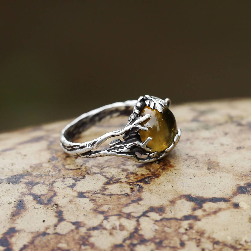 "Sterling Silver Natural Citrine Ring ""Agnes"" - blacktreelab"