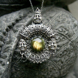 "Sterling Silver Pendant ""Trion"" with Labradorite and Yellow Sapphires - blacktreelab"