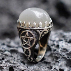 "Sterling Silver ""Pentagram"" Ring with Natural Moonstone - blacktreelab"