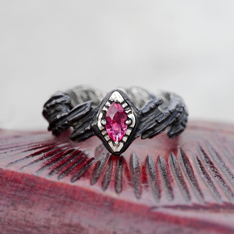 "Sterling Silver Pink Tourmaline Ring ""Aiko"" - blacktreelab"