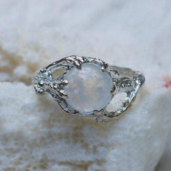 "Sterling Silver Rainbow Moonstone Ring ""Ariel"" - blacktreelab"
