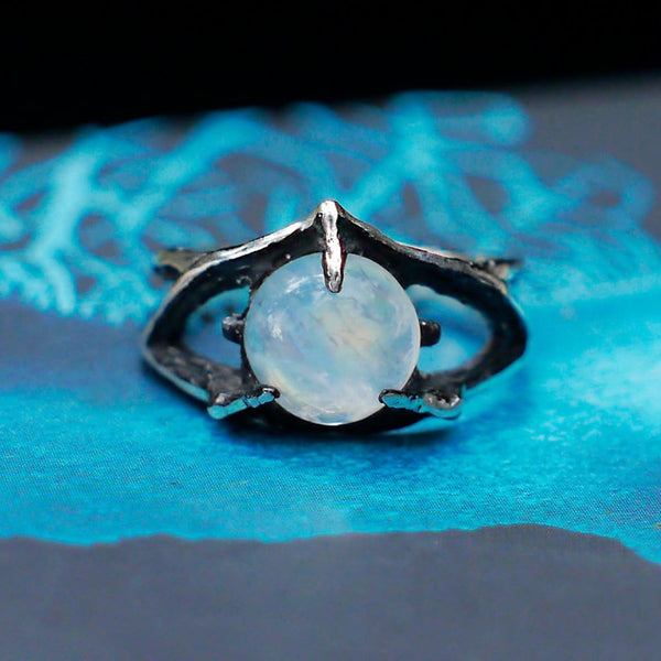 "Sterling Silver Rainbow Moonstone Ring ""Atlantida"" - blacktreelab"