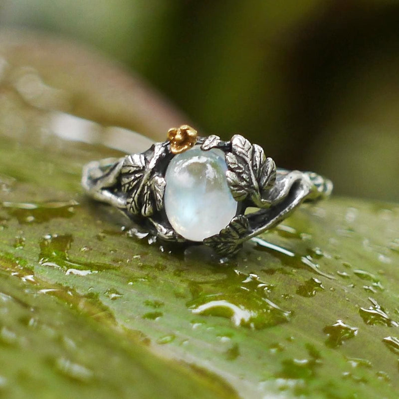 "Sterling Silver Rainbow Moonstone Ring ""Daisy"" - blacktreelab"