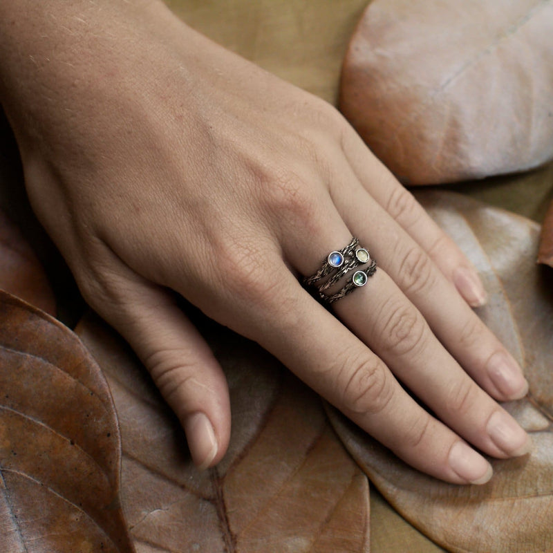 "Sterling Silver Rainbow Moonstone Ring ""Dew"" - blacktreelab"